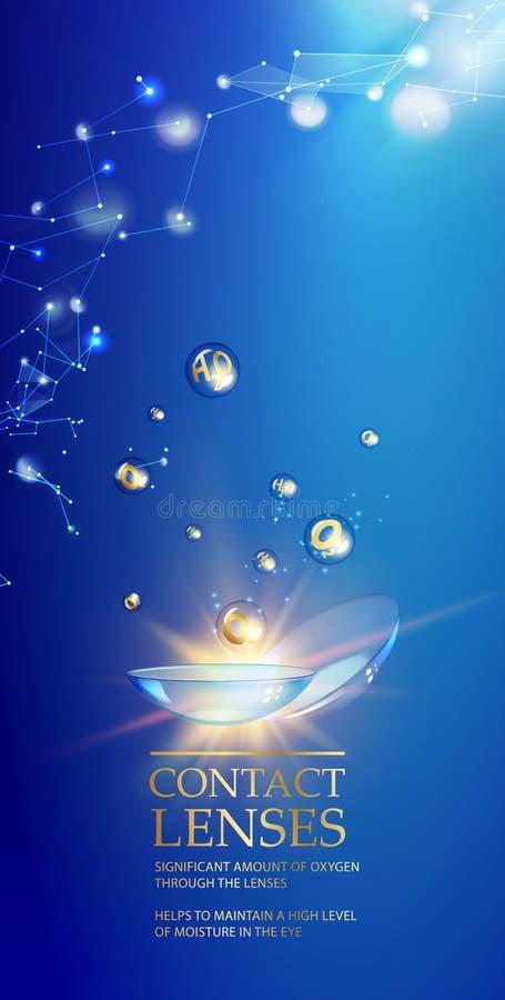 Les meilleurs verres de contact bleus pour votre santé d'oeil Illustration médicale impressionnante avec des baisses de vitamine  illustration libre de droits