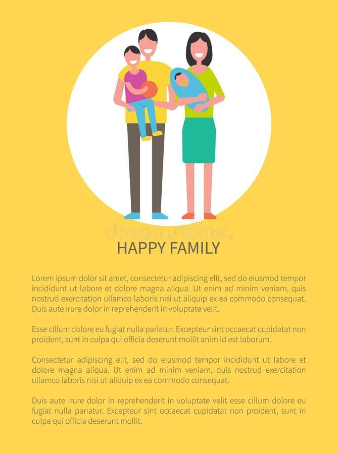 Les membres de la famille heureux engendrent, fils, mère, nouveau-née illustration de vecteur