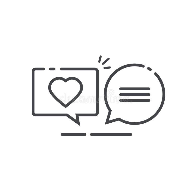 Les messages de causerie d'amour dirigent la ligne symbole d'illustration d'art d'ensemble, causant des discours de bulle avec le illustration libre de droits