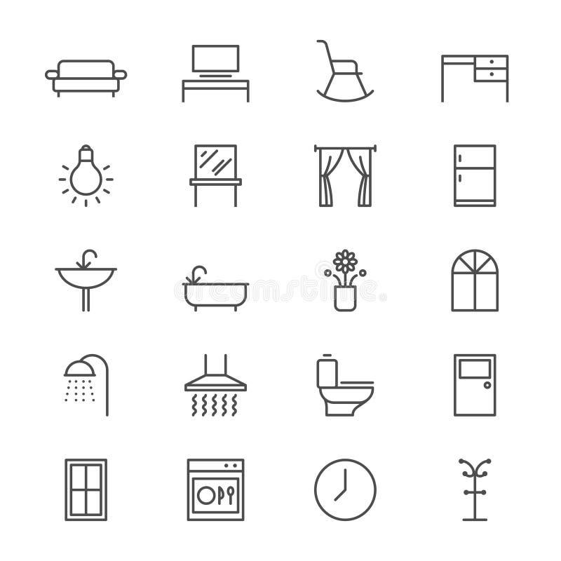 Les meubles à la maison amincissent des icônes illustration de vecteur