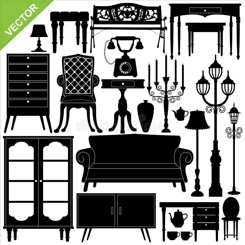Les meubles antiques silhouettent le vecteur illustration de vecteur