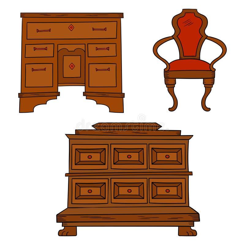 Les meubles d'Antiqu ont placé - le bureau antique, table, chaise d'isolement sur le blanc illustration libre de droits