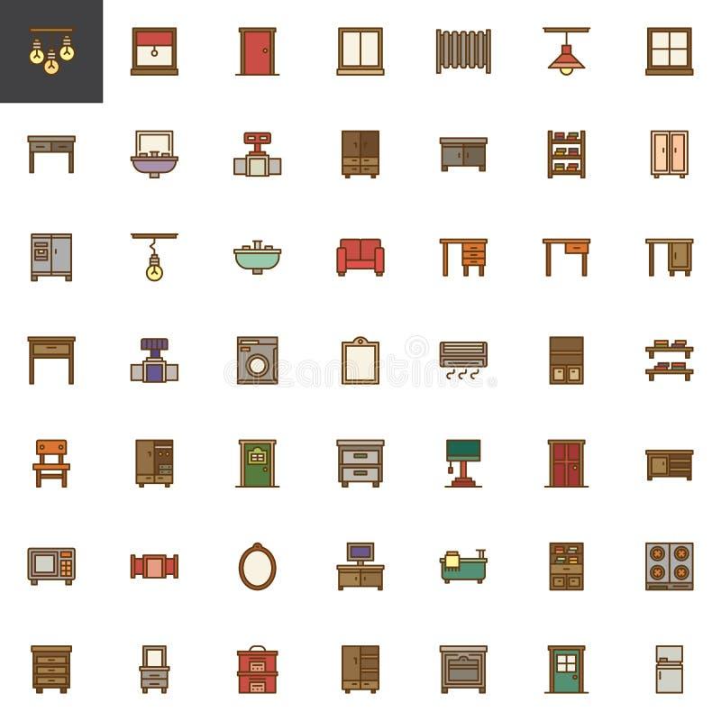 Les meubles de ménage ont rempli ensemble d'icônes d'ensemble illustration stock