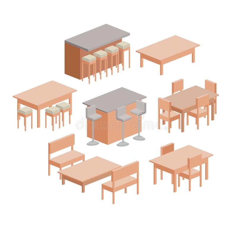 Les meubles de salle à manger ont placé en silhouette colorée au-dessus du fond blanc illustration libre de droits
