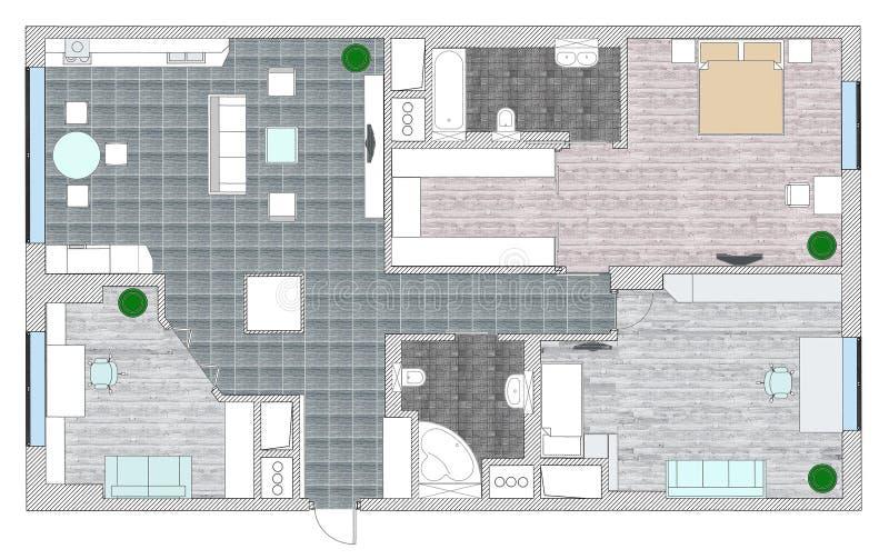 Les meubles sont sur le plan d'architecte illustration de vecteur