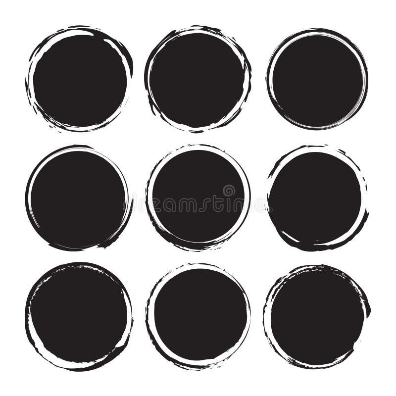 Les milieux abstraits ronds noirs enduit des objets de vecteur d'isolement sur un fond blanc Formes grunges Cadres de cercle illustration libre de droits