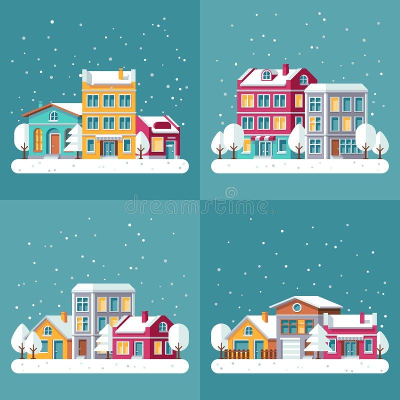Les milieux de vecteur de vacances d'hiver de Noël ont placé avec des rues de ville illustration de vecteur