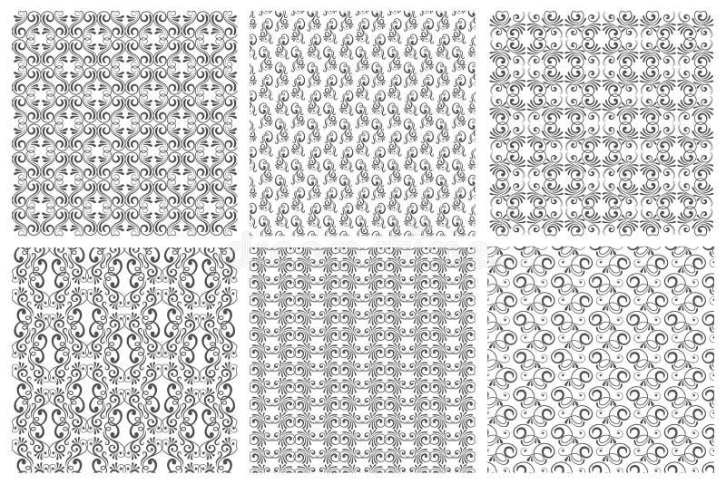 Les milieux fleuris ou les modèles floraux de vecteur réglés dans le vintage courbent le style illustration stock