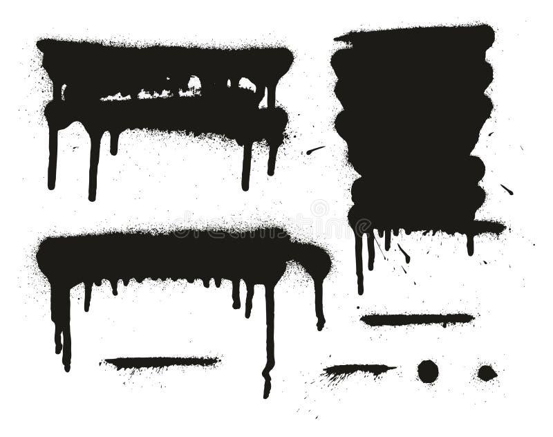Les milieux, les lignes et les égouttements de vecteur d'abrégé sur peinture de jet ont placé 14 illustration libre de droits