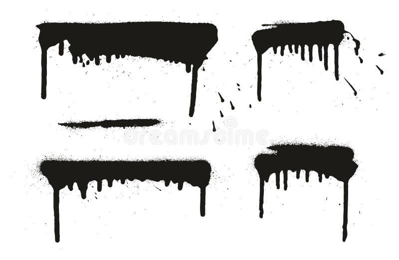 Les milieux, les lignes et les égouttements de vecteur d'abrégé sur peinture de jet ont placé 09 illustration libre de droits