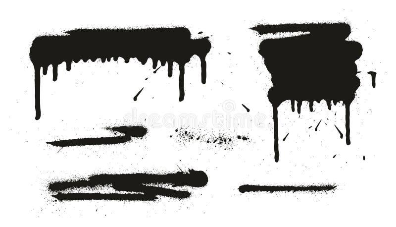 Les milieux, les lignes et les égouttements de vecteur d'abrégé sur peinture de jet ont placé 06 illustration stock