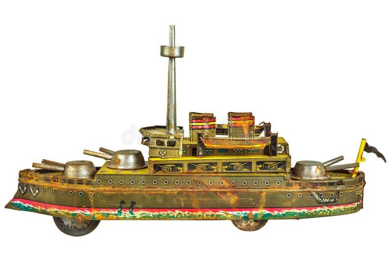 Les militaires antiques de jouet se transportent d'isolement sur le blanc photographie stock