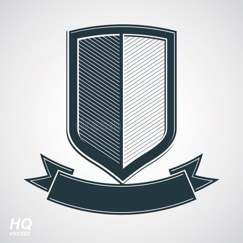 Les militaires attribuent l'icône Bouclier de la défense de gamme de gris de vecteur avec sinueux illustration de vecteur
