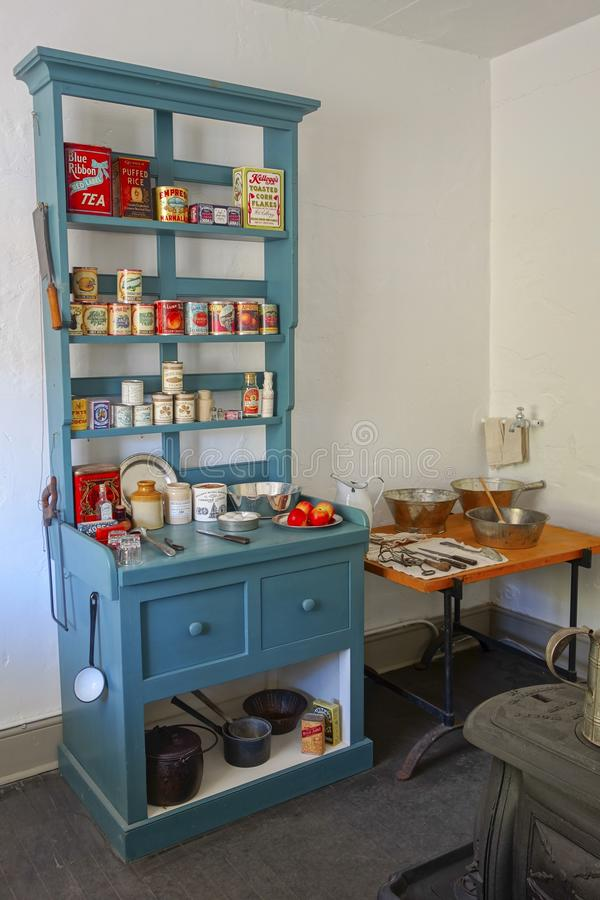 Les militaires de cuisine de vintage chahutent le fort Rodd Hill de musée image libre de droits