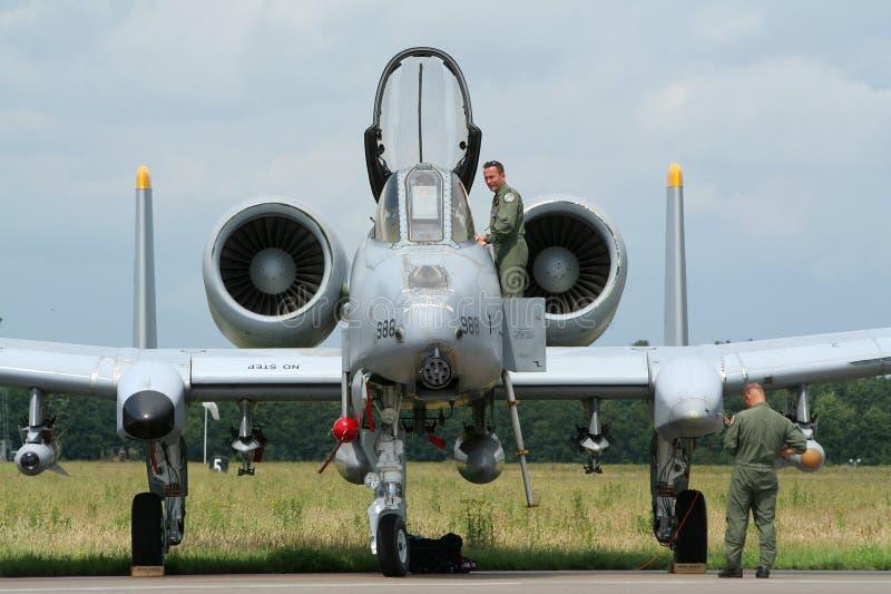 Les militaires de l'U.S. Air Force A-10 giclent photo stock