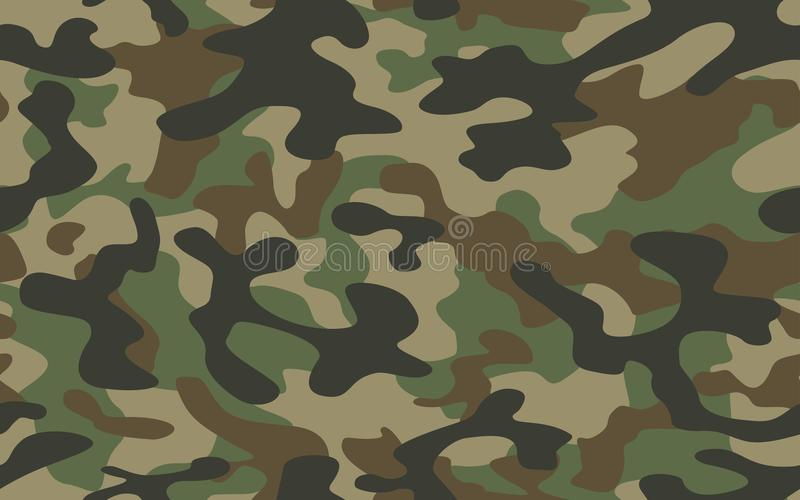 Les militaires de texture de camo d'impression camouflent la chasse sans couture de vert d'armée de répétitions illustration de vecteur