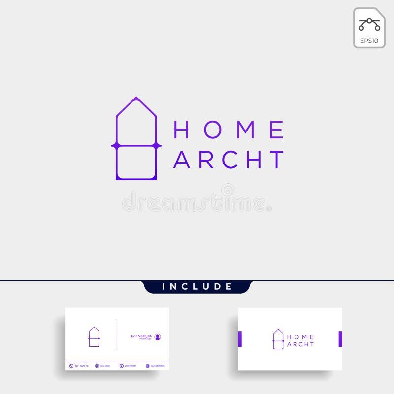 Les minimalis à la maison de logo d'architecte conçoivent l'élément d'icône de vecteur illustration de vecteur