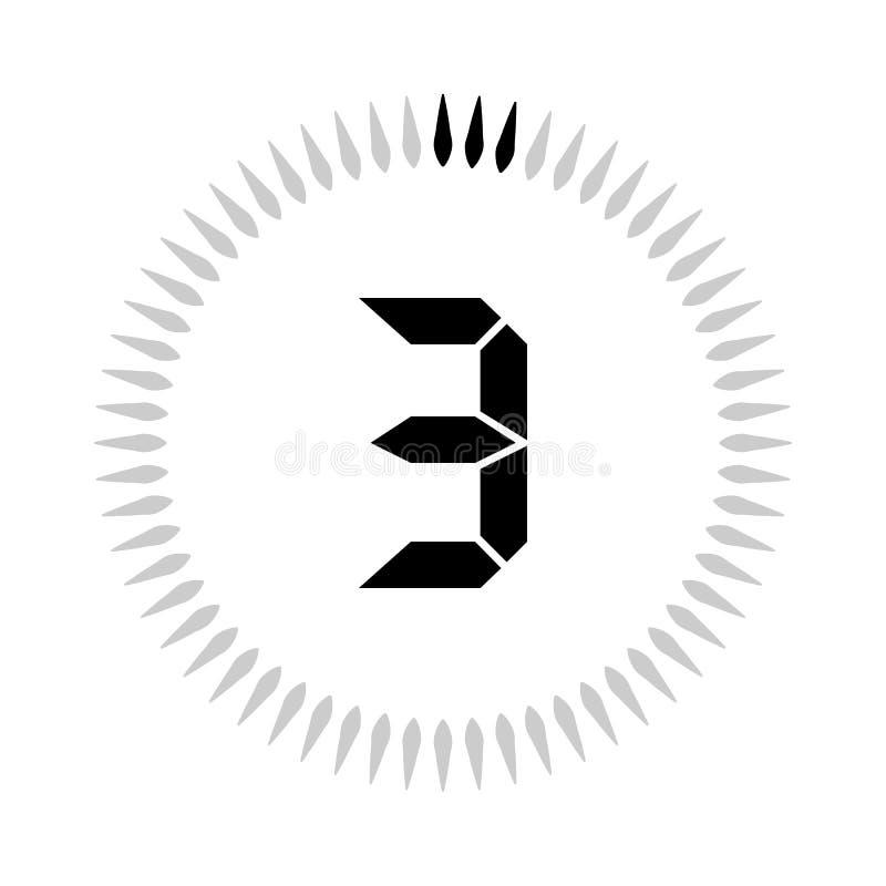 Les 3 minuteries de minutes ou de secondes illustration de vecteur