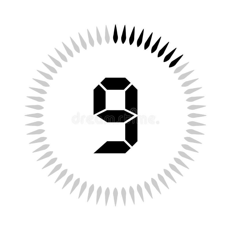 Les 9 minuteries de minutes ou de secondes illustration stock