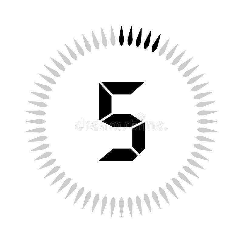 Les 5 minuteries de minutes ou de secondes illustration de vecteur