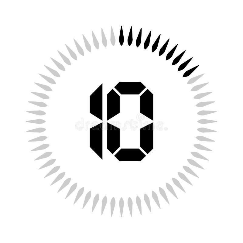 Les 10 minuteries de minutes ou de secondes illustration stock