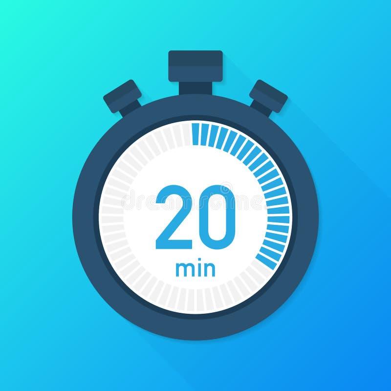 Les 20 minutes, icône de vecteur de chronomètre Icône de chronomètre dans le style plat, minuterie dessus sur le fond de couleur  illustration libre de droits