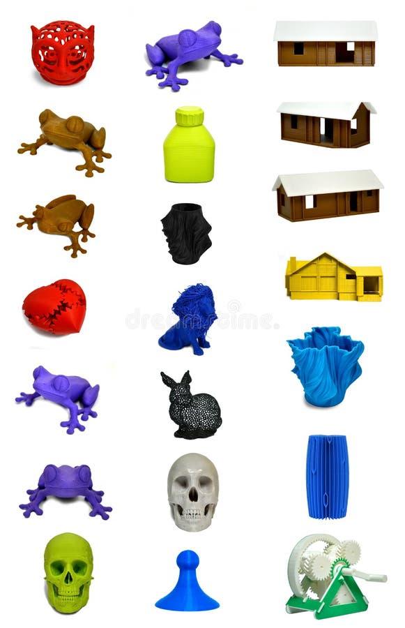 Les modèles abstraits réglés ont imprimé par le plan rapproché de l'imprimante 3d photographie stock