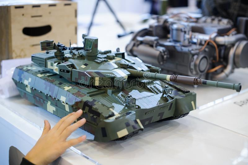 Les modèles de l'équipement militaire moderne de la production ukrainienne échouent images libres de droits