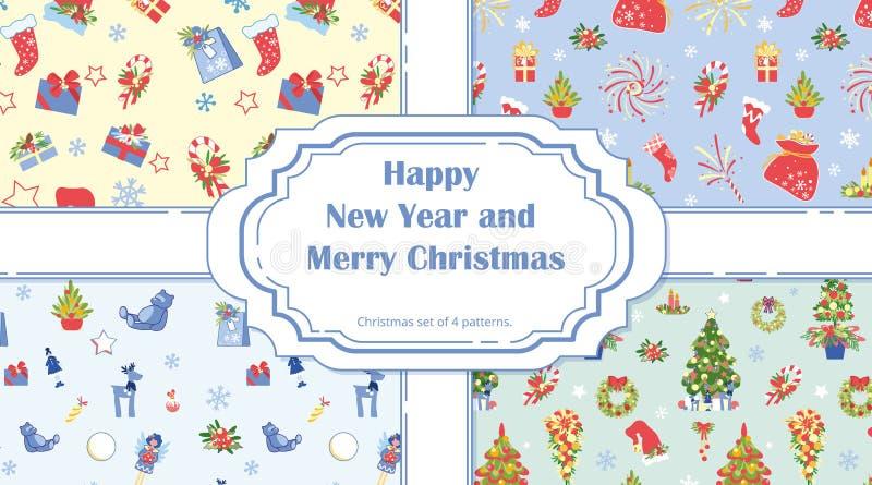 Les modèles de Noël sans couture avec l'arbre de Noël illustration libre de droits