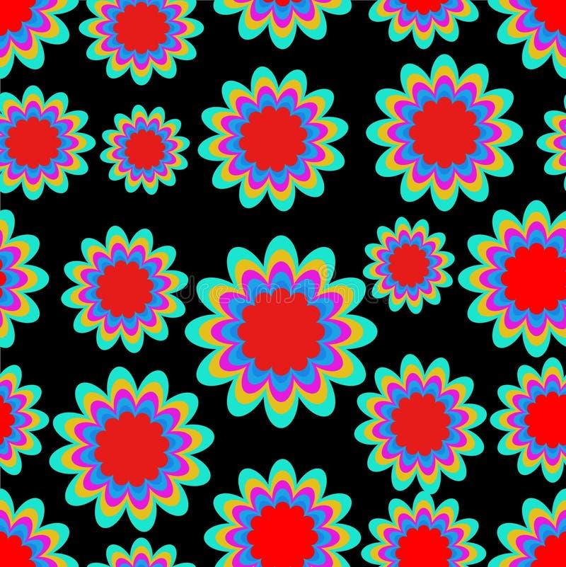 Les modèles sans couture avec l'imagination fleurissent dans des couleurs vives psychédéliques sur le fond noir Ornement contrast illustration libre de droits