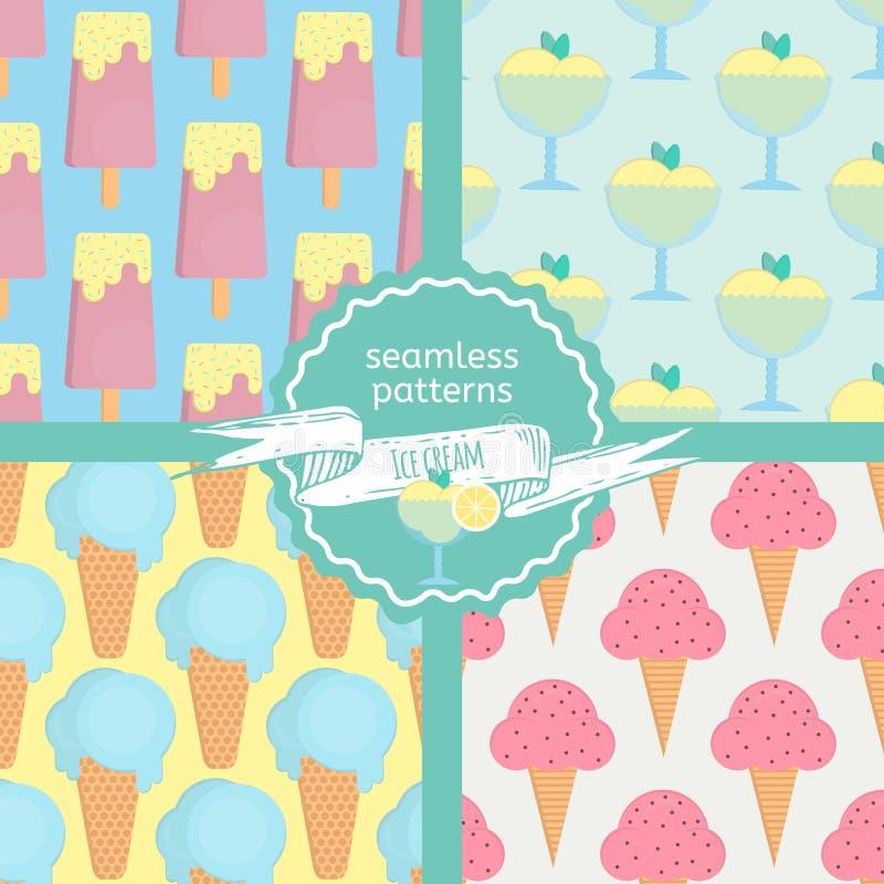 Les modèles sans couture de crème glacée ont placé dans le style plat illustration stock