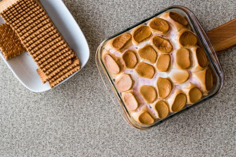 Les moeurs faites maison de ` de S plongent/guimauves cuites au four avec des biscuits ou des biscuits Copiez l'espace images stock