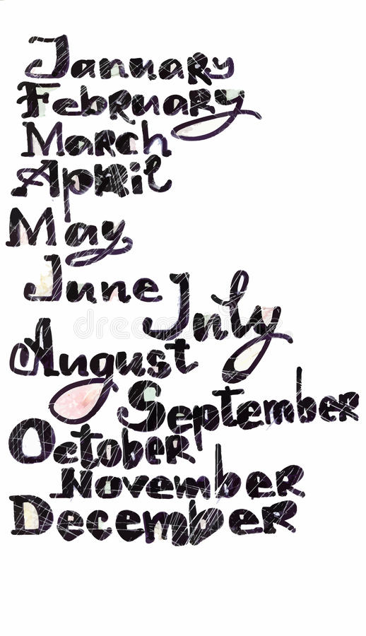 Les mois de l'année modèlent, les lettres tirées par la main colorées avec le modèle d'art de pixel au-dessus du blanc, couvertur illustration de vecteur