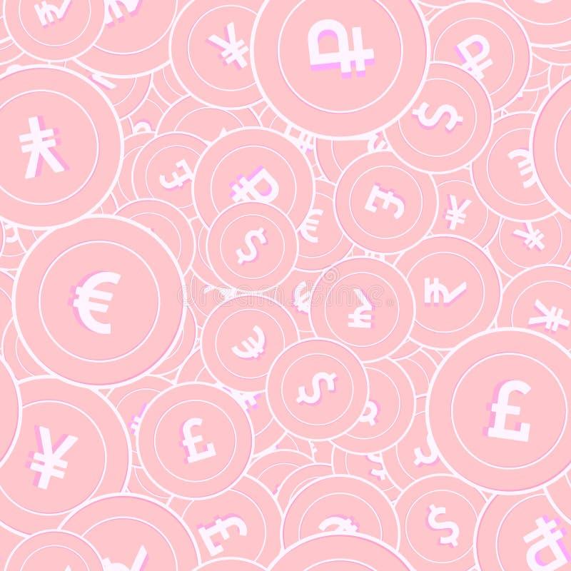 Les monnaies internationales le tapotement sans couture de pièces de monnaie en cuivre illustration stock
