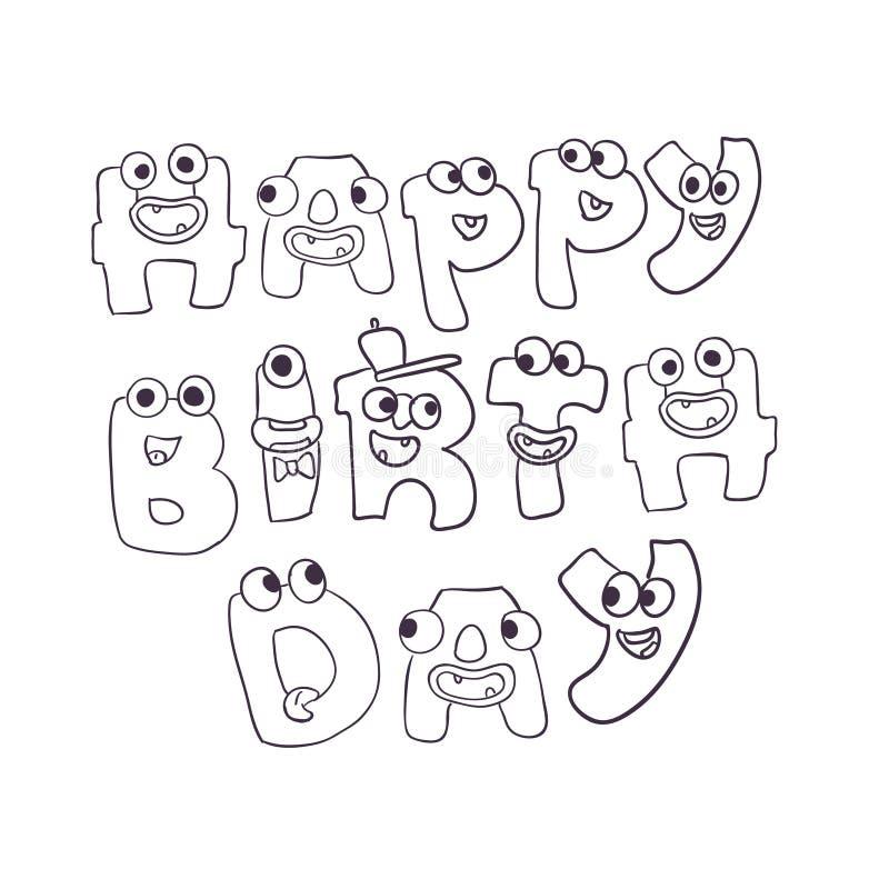 Les monstres mignons de vecteur gribouillent le signe de joyeux anniversaire illustration de vecteur