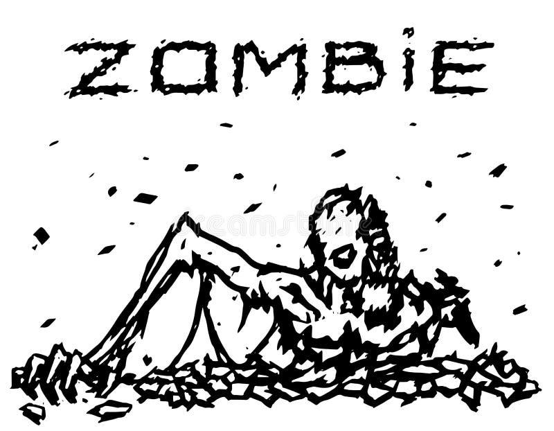 Les montées mortes d'homme hors de la terre Illustration de vecteur illustration stock