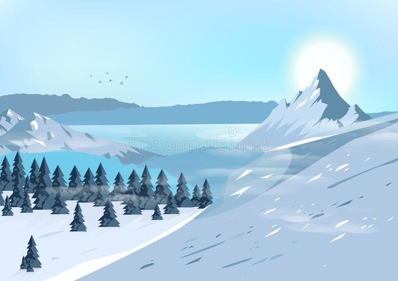 Les montagnes aménagent, voyagent en parc et risquent le postca naturel de concept illustration libre de droits