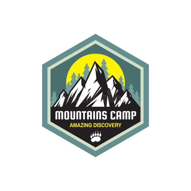 Les montagnes campent découverte stupéfiante - insigne de concept Embl?me de colonie de vacances Logo s'élevant dans le style pla illustration de vecteur