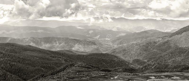 Les montagnes carpathiennes aménagent en parc, vue de la taille, arête de Chornogora, Ukraine, photo noire et blanche images stock