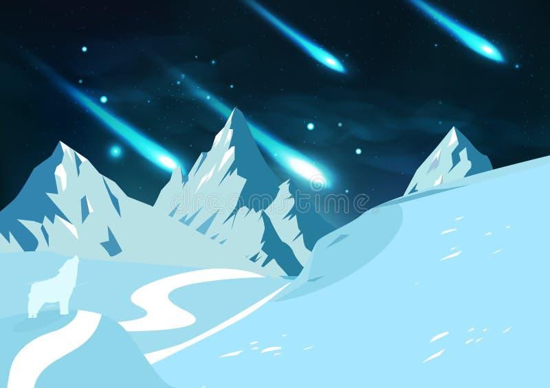 Les montagnes de glace aménagent en parc, des météores tombent l'astronomie W d'étoiles filantes illustration libre de droits