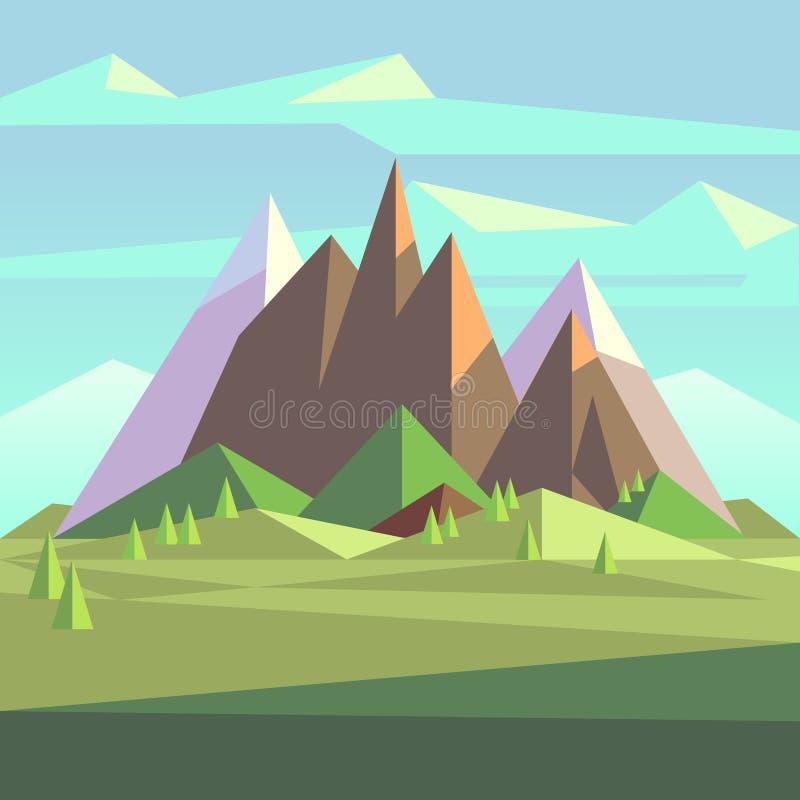 Les montagnes de roche de neige aménagent en parc dans le bas poly style de vecteur illustration de vecteur