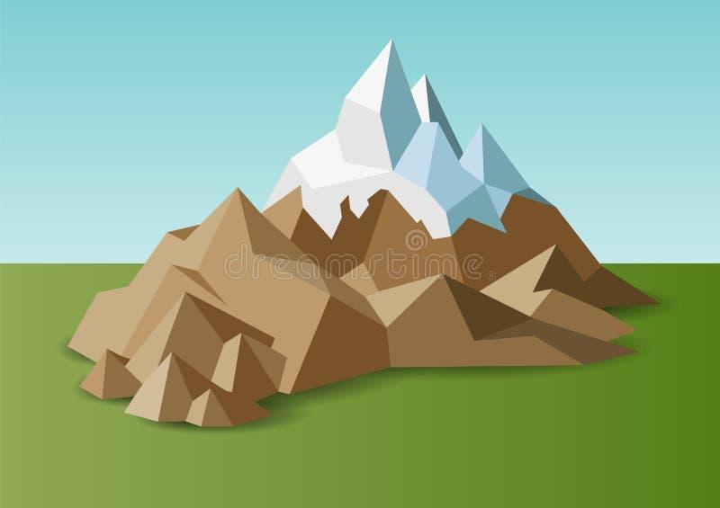 Les montagnes de roche de neige aménagent en parc dans bas poly illustration libre de droits
