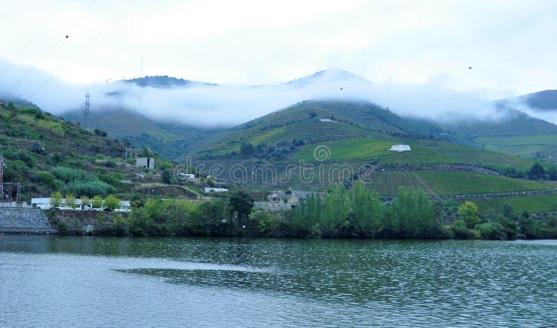 Les montagnes et la rivière de Douro de brouillard image libre de droits