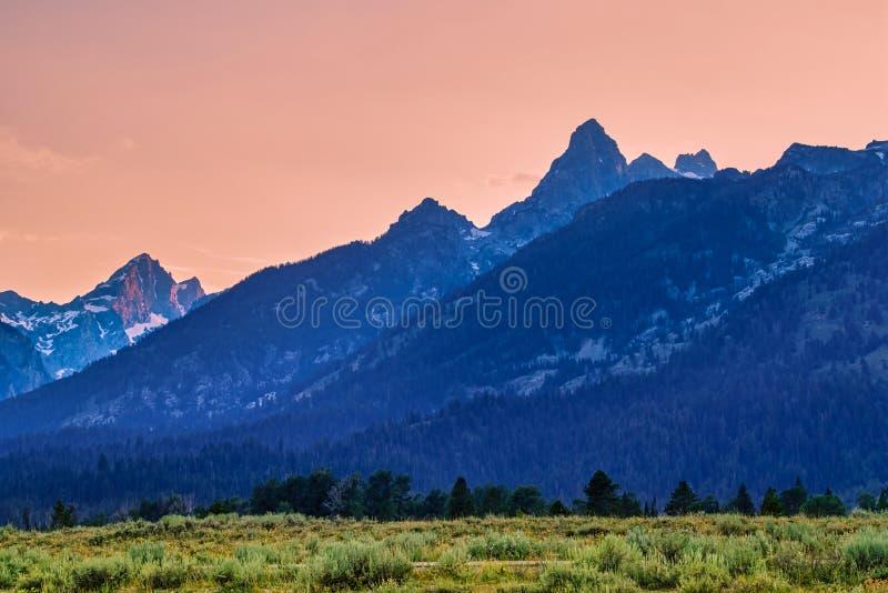Les montagnes et les usines luxuriantes dans le coucher de soleil photographie stock libre de droits