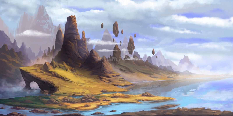 Les montagnes Fiction fantastique Cadre naturel Concept Art illustration libre de droits