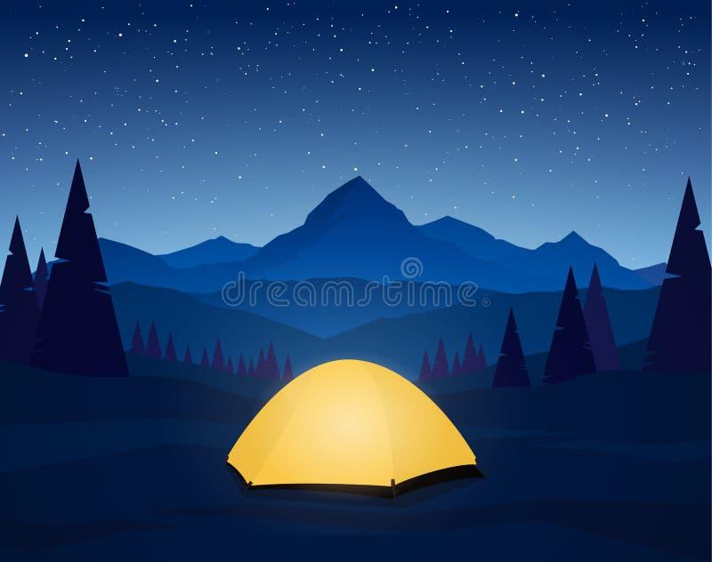 Les montagnes plates de nuit aménagent en parc avec le camp de tente sur le premier plan illustration de vecteur
