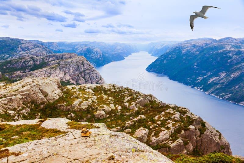 Les montagnes près du pupitre de prédicateurs basculent dans le fjord Lysefjord - non photos stock
