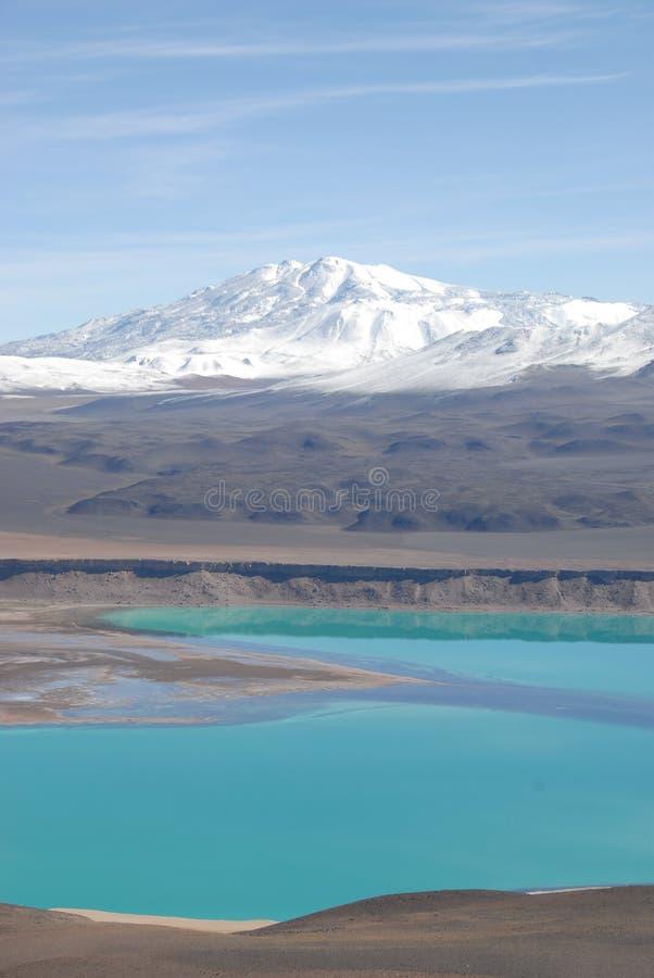 Les montagnes Snow-covered s'approchent du verde de Laguna, Atacama, photo libre de droits