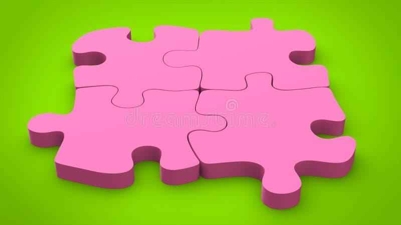 Les morceaux roses de puzzle de sucrerie ont placé ensemble sur le fond vert illustration de vecteur