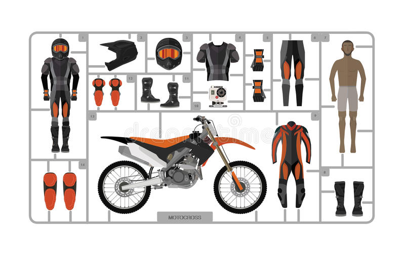 Les motocross font du vélo la silhouette avec le casque d'isolement sur le blanc illustration de vecteur